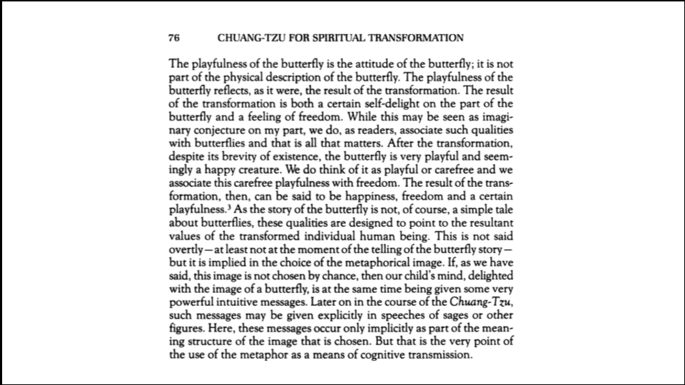 Hobbies versus hustles - butterfly interpretation from Chuang-Tzu for Spiritual Transformatio