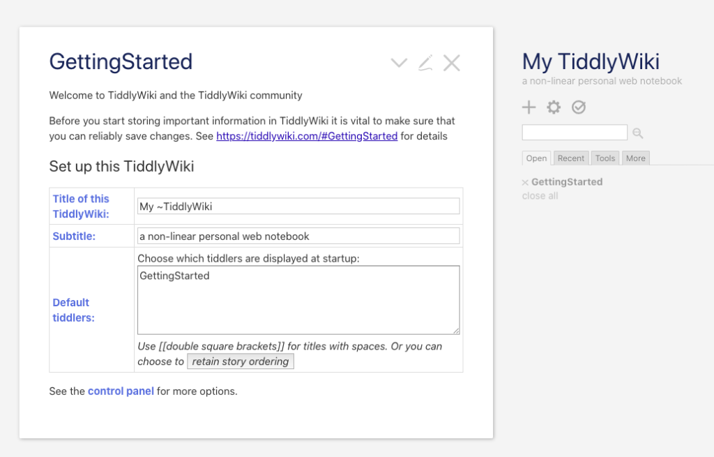 TiddlyWiki Beginner Tutorial - Getting Started