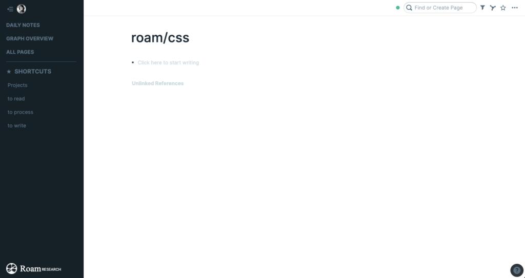 Roam themes - create roam/css page to install custom css