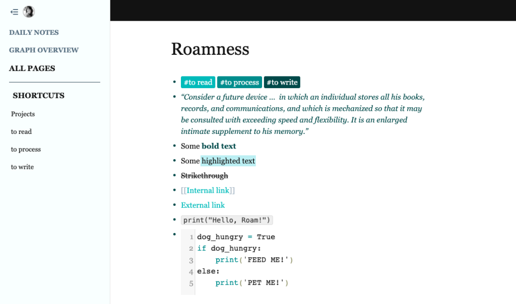 Roamness theme for Roam Research - Custom Styles