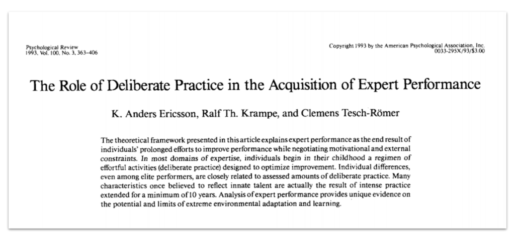 The role of deliberate practice in the acquisition of expert performance - research paper