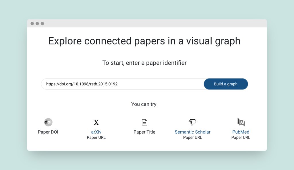 Entering an origin paper in Connected Papers