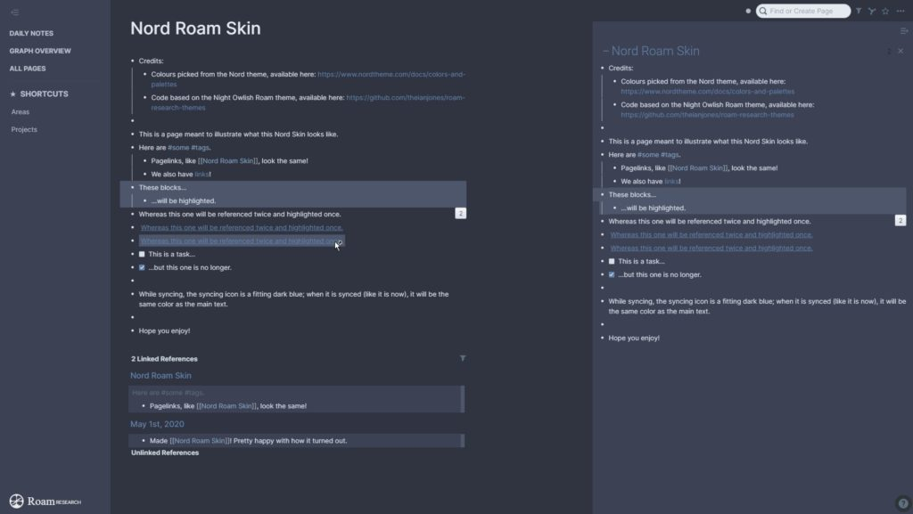 Nord Roam by Elodes - CSS theme for Roam Research