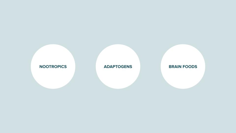 Nutritional neuroscience categories: nootropics, adaptogens, brain foods