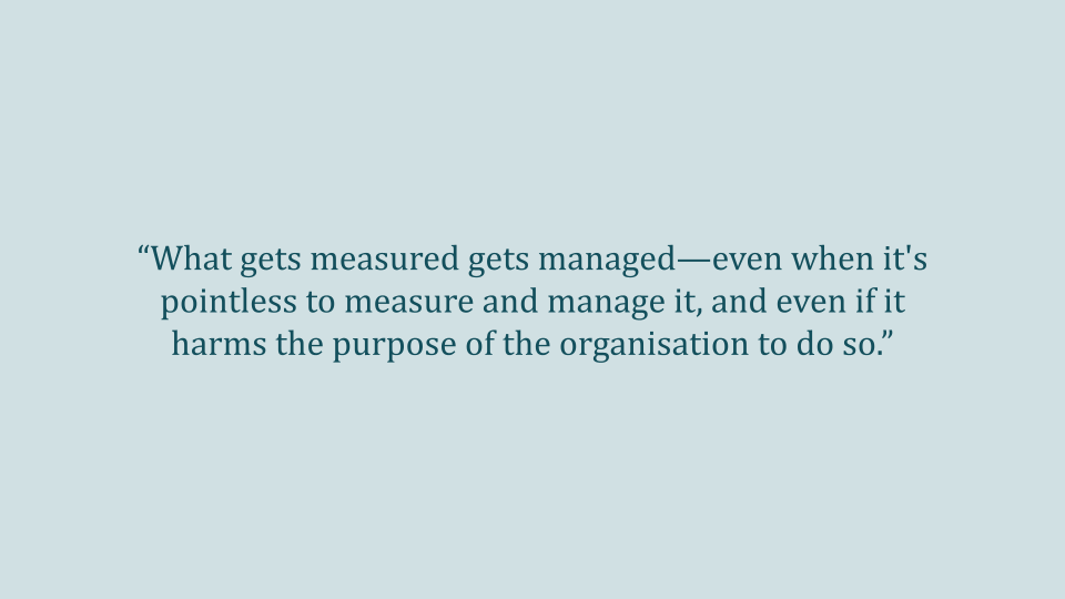 What gets measured gets managed - full quote
