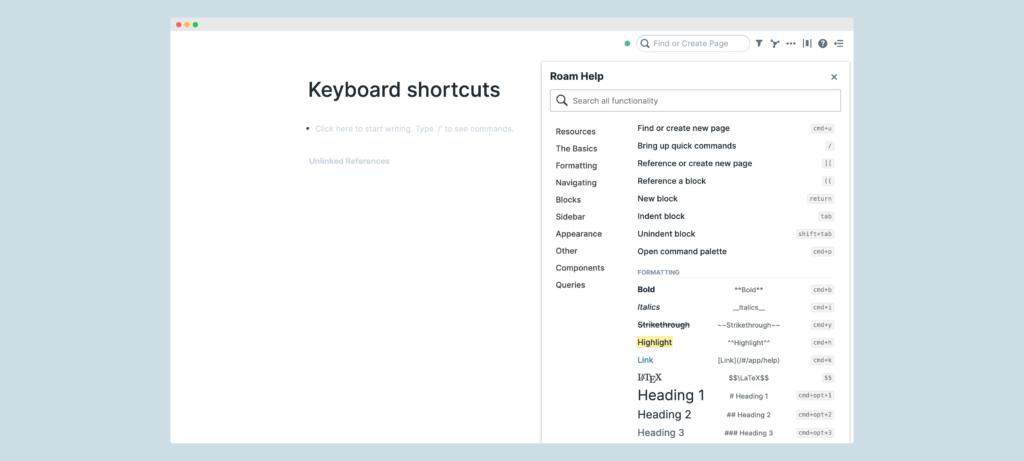 Basic keyboard shortcuts in Roam Research