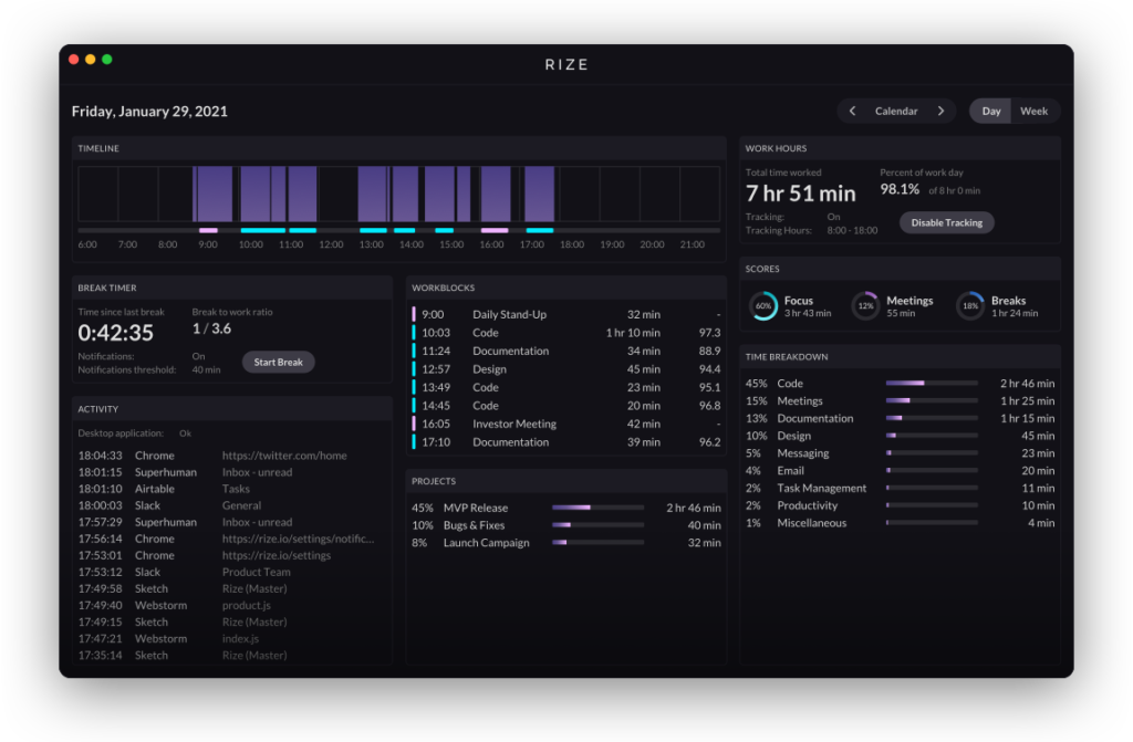 Rize - time tracking screenshot