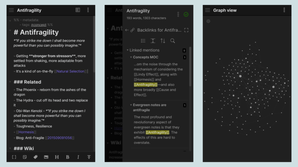 Obsidian - Mobile App Screenshots of Pages and Graph View